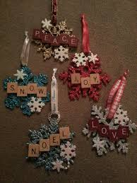 ornaments scrabble tiles glued onto cut lengths of 5 gallon