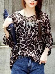 tops online korea fashion leopard print chiffon top e25587 cilory