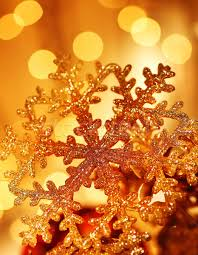 golden snowflake tree decorations stock photo om