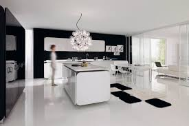 Luxury Kitchen Lighting View Of Luxury Black And White Kitchen With Modern Lighting Effect