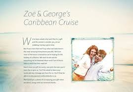 cruise wedding registry exle honeymoon funds and wedding gift lists buy our honeymoon