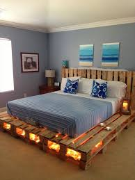 Build A Wooden Platform Bed by Wooden Pallet Platform Bed With Lights Projects To Try