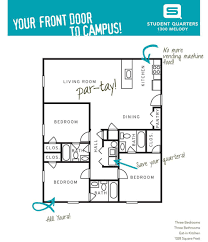 1300 Square Foot Floor Plans by Student Quarters Valdosta Three Bedroom Three Bathroom Floor Plans