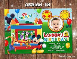 mickey mouse bounce house birthday photo invitations 1st
