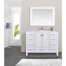 47 Bathroom Vanity 48 Inch Malibu Pure White Single Sink Bathroom Vanity Cabinet With