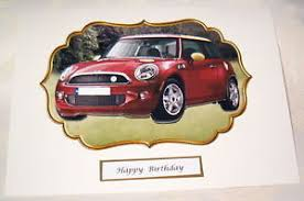 3d male birthday card mini car can be personalised with person