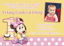 baby minnie mouse 1st birthday custom photo birthday invitation baby minnie mouse 1st b day