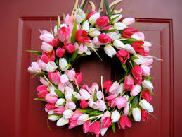 tulip wreath pink and white tulip wreath wreath summer wreath