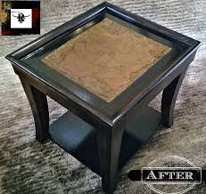 end tables renewed with faux leather tops hometalk
