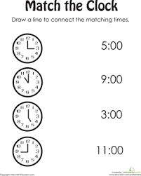match the clock kindergarten worksheets worksheets and pre