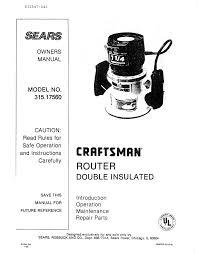 craftsman 25583 craftsman 315 17560 owner s manual