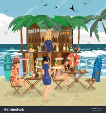 blue martini waitress bar bungalows bartender woman waitress salvers stock vector