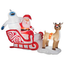 Rudolph The Red Nosed Reindeer Christmas Decorations For Outdoors by 6 5 U0027 Rudolph The Red Nosed Reindeer And Bumble U0026 Santa Airblown
