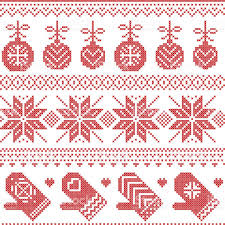 christmas pattern with winter gloves bauble stars in cross stitch