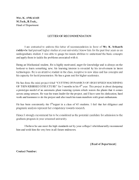 Letter Of Recommendation Template For College Admission Letter Of Recommendation By Hod