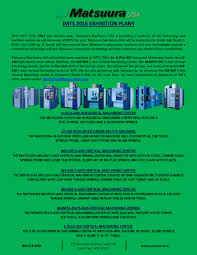 matsuura machinery usa will exhibit a total of seven machines at
