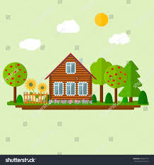 House Flat Design by Wooden Eco House Landscape Icon Russian Stock Vector 486437170