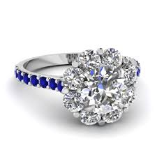 halo design rings images Flower halo diamond engagement ring with sapphire in 14k white jpg
