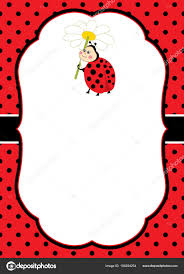 vector card template with a cute ladybug on polka dot and stripes