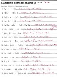 chemistry balancing chemical equations worksheet answer key all