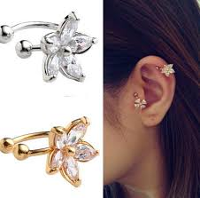 ear cuffs for pierced ears 1pc women s fashion cz flower u shape ear cuff clip on no