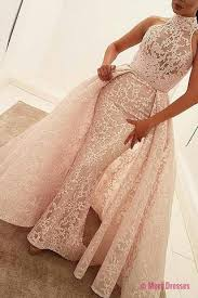 quinceanera dresses light pink mermaid high neck court detachable light pink lace prom