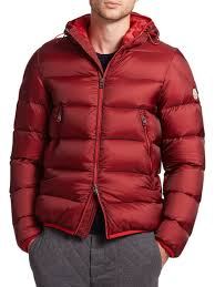 moncler chauvon hooded down jacket in red for men lyst