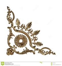 3d set of an ancient gold ornament on a white background stock