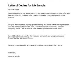 Decline Letter For Letter Of Decline Simple Letter Of Intent For New Position