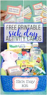 printable sick day activity cards unoriginal mom