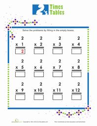 Times Tables Worksheet Times Tables 2s Worksheet Education Com