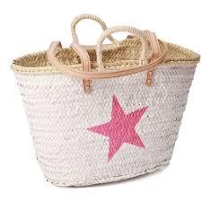 Beach Basket Baskets Painted Star White Beach Baskets Moroccan Handmade