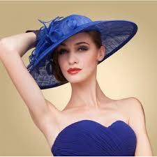 wedding dresses derby royal blue women wide brim floral floppy fancy derby