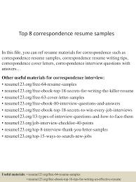 Effective Resume Samples top8correspondenceresumesamples 150623144201 lva1 app6891 thumbnail 4 jpg cb u003d1435070565