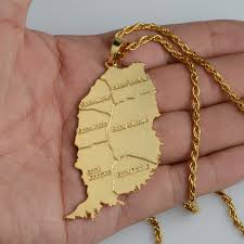 necklace pendant sizes images Anniyo gold color big size grenada island map pendant and chain jpg