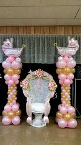 baby shower chair decorations baby shower chair and balloon columns shower chair