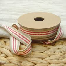 cotton ribbon striped beige cotton ribbon pipii
