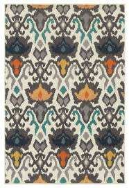 Ikat Indoor Outdoor Rug Hermosa Indoor And Outdoor Floral Tribal Ikat Ivory And Multi Rug