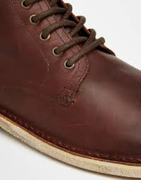 asos lace up boots in brown leather in brown for men lyst
