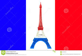 Blue And Black Striped Flag Eiffel Tower Model With Red White Blue Stripe Printed By 3d