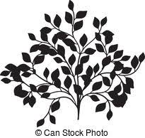 vector clip of ornamental tree with swirly branches and birds