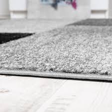 Schlafzimmer Venezia Designer Teppich Hochwertig Kariert Konturenschnitt Meliert