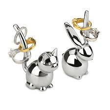 silver rabbit ring holder images Umbra bunny and cat ring holder pair fab png
