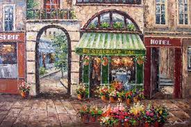 french cafe painting wallpaper