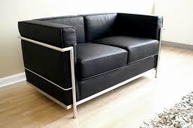 Loveseat Black Leather Le Corbusier Black Leather Loveseat Affordable Modern Furniture