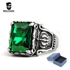 gem silver rings images Green stone cz gothic crown rings mens 316l stainless steel silver jpg