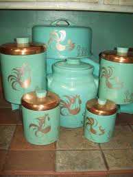 vintage turquoise aqua ransburg rooster 6pc set canisters cookie