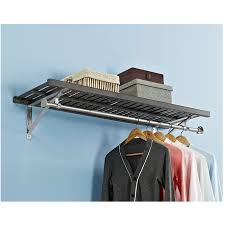 shop allen roth 48 in w x 16 in d rustic gray wood closet shelf