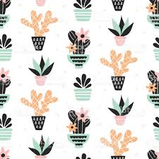 succulents plants seamless pattern mint and quartz colors isolated