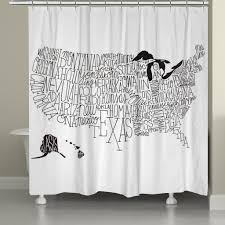 Black And White United States Map by Hand Lettered Us Map Black And White Shower Curtain U2013 Laural Home